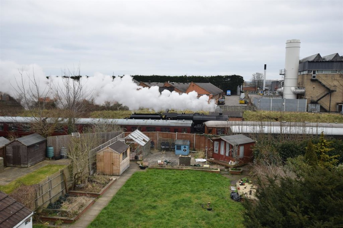 View to the rear of steam trains